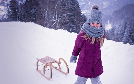 Little Girl Pulling Snow Sled - Trees, Sled, Girl, Mittens, Snow, Hat, Little