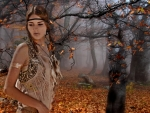 Boho Woman In Forest