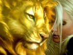Blonde Woman And Lion