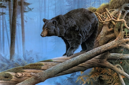 Shadow of the North - forest, trees, bear, painting