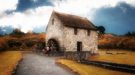 Old Grist Mill - autumn, house, watermill, clouds, road, landscape