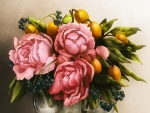 Peonies and fruits