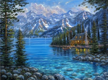 Mountain Cabin Painting - mountain, snow, painting, river, cabin, top, blue
