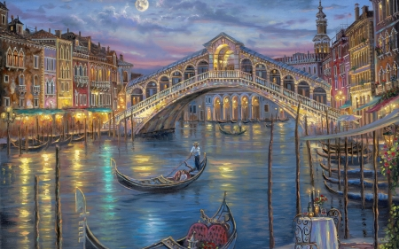 On the Italian Waters - waters, boat, romance, love, painting, italy