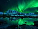 Green Aurora Borealis Reflection