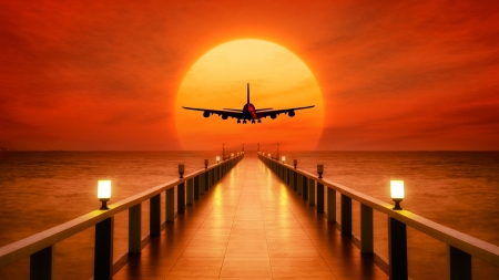 Airplane Takeoff During Sunset - sea, nature, pier, sun, airplane, sky, sunset