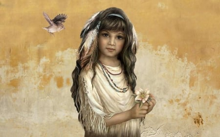 Young Native Indian Child - lovely, Native, Feathers, softness, Sweet, Beauty, young, girl, Native American, portrait, Indian