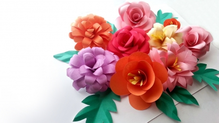 Paper Flowers - birght, Firefox theme, colorful, 3D, flowers, blossoms, paper, floral