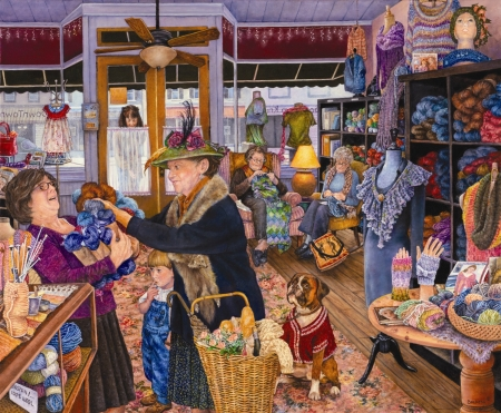 The Yarn Shop - art, painting, pictura, woman, yarn shop