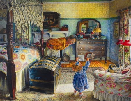 Grandma's treasure - art, treature, grandmother, susan brabeau, girl, painting, copil, child, room, pictura