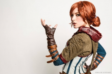 Triss - cosplay, redhead, girl, the witcher, triss