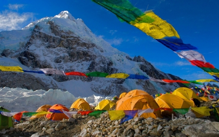 Camp Mount Everest Nepal Mountains Nature Background