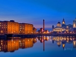 Liverpool England Seen From The Waters Of The River Mersey