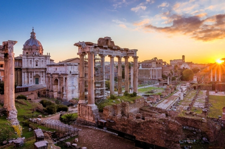 Forum Romanum - pillars, vatican, sunset, rome, sky, church, italy