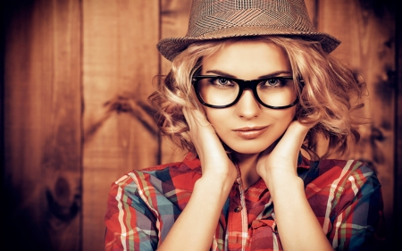 Blonde With Hat - Models, Glasses, Woman, Hat, Female