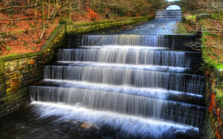 Autumn Waterfall - autumn, england, waterfall, ladder, nature, park, valleys