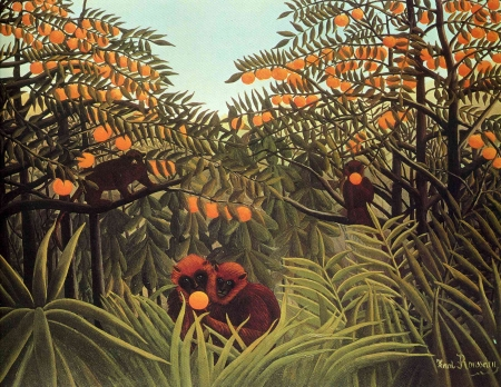 Apes in the orange grove - monkey, art, apes, green, orange, painting, grove, henri rousseau