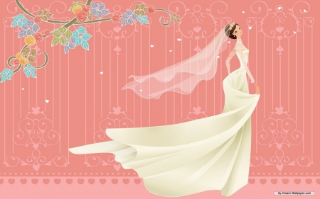 Aniamated Wedding - arts, dress, gown, animation, white