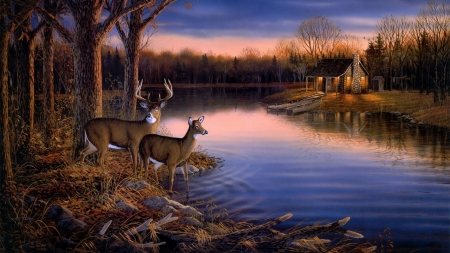 •ღ✿ღ• - painting, nature, river, deer