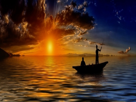 Sunset - sun, river, fishing boat, clouds