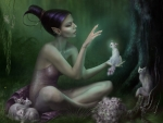 Fairy with kittens
