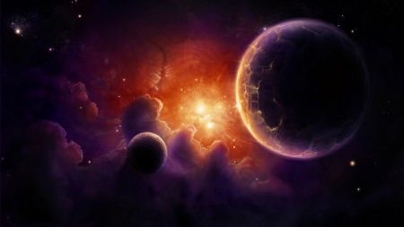 Space - cosmos, orange, pink, luminos, fantasy, planet, purple