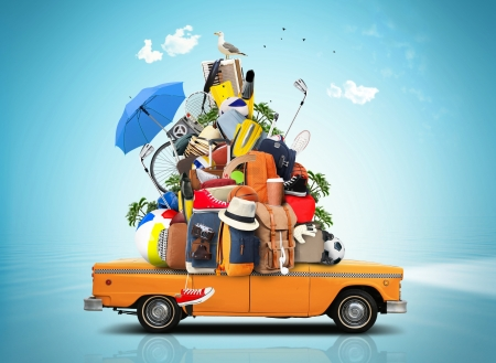 Enjoy your Summer Vacation! - vacation, orange, holiday, journey, umbrella, creative, trip, car, summer, funny, stuff, blue