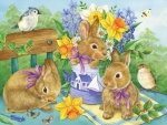 Bunnies, flowers and birds