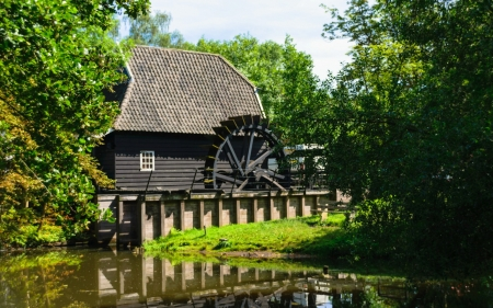 Watermill in Netherlands - nature, river, watermill, Netherlands