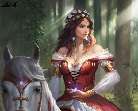 Guinevere - art, oliver liu, girl, luminos, guinevere, horse, fantasy, queen, red