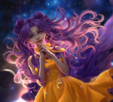 Luna - dress, frumusete, luminos, luna, yellow, fantasy, purple, sunmomo, sailor moon, pink