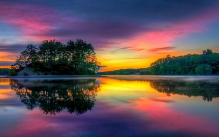 Sunset Reflected in Lake - forest, nature, sunset, reflected, trees, sky, lake