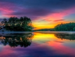 Sunset Reflected in Lake