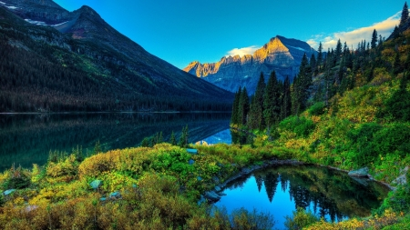 Lakes and mountains - Forest, Trees, Mountains, Sky, Green, Lakes, Blue