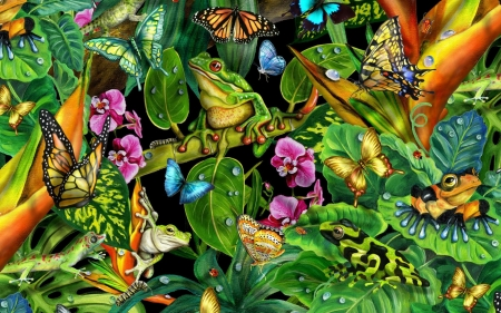 Many Different Kinds - frogs, greenier, flower, nature, puzzle