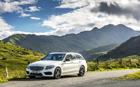 Mercedes-Benz E-Class - Mercedes-Benz, road, mountains, car