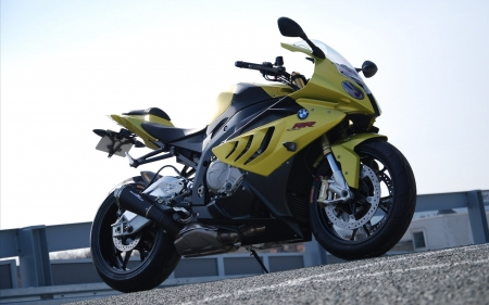 BMW S1000RR - side view, BMW S1000RR, bmw, vehicles, yellow, motorcycles