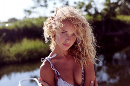 Unknown Model - curly hair, babe, blond, model, beautiful, woman, lake, water, river, gorgeous