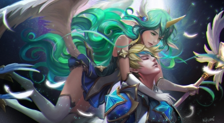 Soraka and Ezreal - luminos, soraka, unicorn, game, man, lol, fantasy, girl, mikurei, ezreal, blue, couple