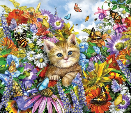 Kitten in the garden - luminos, cat, vara, butterfly, flower, summer, garden, kitten, pisica