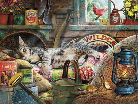 Sleeping cat - art, sleep, painting, cat, pisica