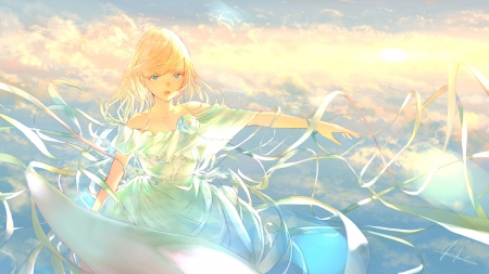 Dawn of Hope - White Rose, Blonde Hair, Pretty, Anime, Beautiful, Sweet, Girl, Strong, Aqua Eyes, Determined, Light, Lovely, Wonderful, Scenic, White Dress, Short Hair, Cute, Dawn, Goroku, Clouds, Hope, Sun, Ribbons