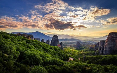 Mountain Landscape - sky, sunset, houses, rocks, winding road, clouds, road