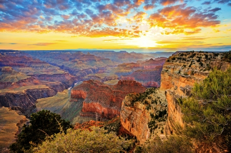 Grand Canyon - landscape, national park, sky, sunrise, morning, usa, mountains, clouds