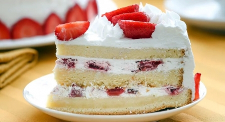 Strawberry Cake - Cake, Red, White, Photography, Strawberry