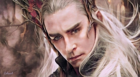 Thranduil - king, art, elf, man, Lee Pace, by cehenot, cehenot, lotr, painting, portrait, thranduil, pictura, pink, actor