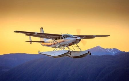 Seaplane at Flight - seaplane, Canada, sky, mountains