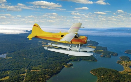 Seaplane in the Sky - America, landscape, seaplane, sky