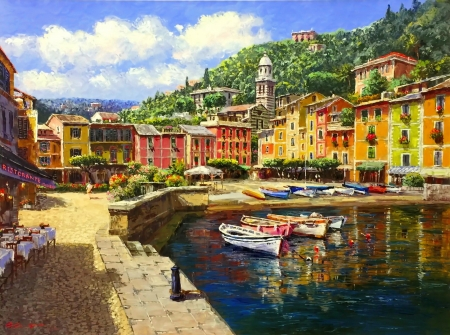 Harbor at Portofino - pretty, art, cafe, Italy, beautiful, lake, boats, village, painting, portofino, harbor