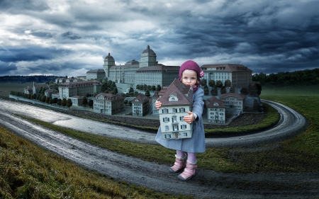 Playing House - Coat, Sky, Clouds, Houses, Girl, Hat, Autumn, Playing